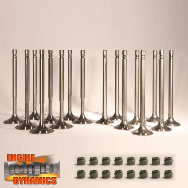 16 Ventile: 8x Einlassventil, 8x Auslassventil VW 1,4 16V inkl Schaftdichtungen