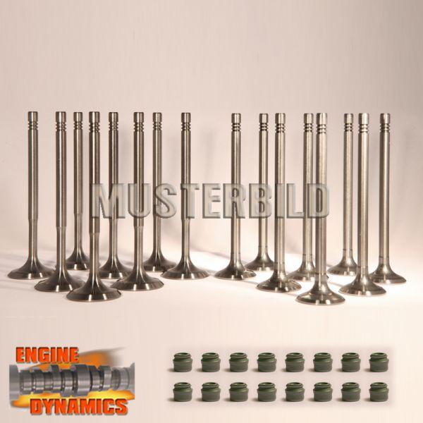 16 Ventile: 8x Einlassventil, 8x Auslassventil VW AFH inkl Schaftdichtungen